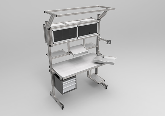 Work bench with overhead storage